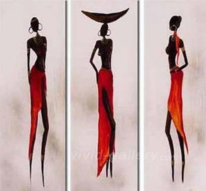 African Woman Painting, Canvas Painting, Abstract Art, Abstract Painting, Acrylic Art, 3 Piece Wall Art - Art Painting Canvas