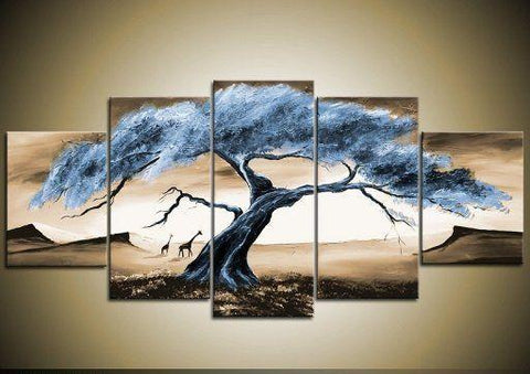 Large Acrylic Painting, Tree of Life Painting, Abstract Painting, 5 Piece Canvas Art