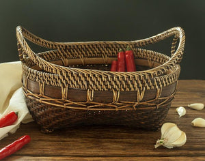 Indonesia Hand Woven Storage Basket, Natural Bamboo Baskets, Small Rustic Basket