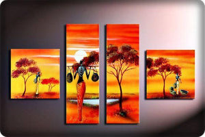 4 Piece Canvas Art, Abstract Art, Oil Painting for Sale, African Woman Painting