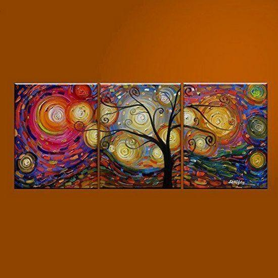 Abstract Art Painting, 3 Piece Canvas Art, Tree of Life Painting, Canvas Painting, Large Group Painting