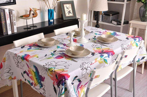 Spring Flower Tablecloth, Table Cloth,  Sailcloth Table Cover, Kitchen Table Decor