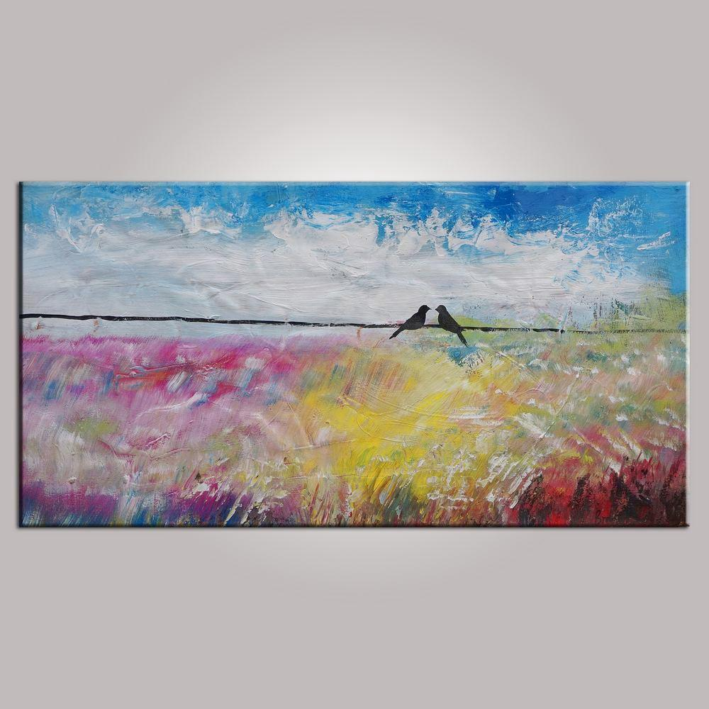 Wall art contemporary abstract art modern art love birds painting painting for