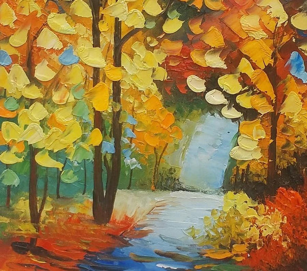 Canvas Painting, Autumn Tree, Small Painting, Landscape Oil Painting, Lovely Small Art - Art Painting Canvas