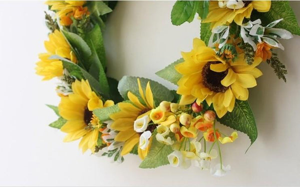 Yellow Sunflower Wreath, Artificial Silk Flower Wreath for Home Decoration