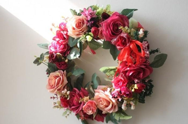 Red Rose Flower Wreath, Artificial Silk Flower Wreath for Wedding and Home Decoration