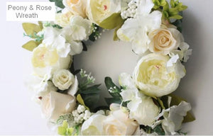 Milky White Peony and Rose Flower Wreath, Artificial Silk Flower Wreath