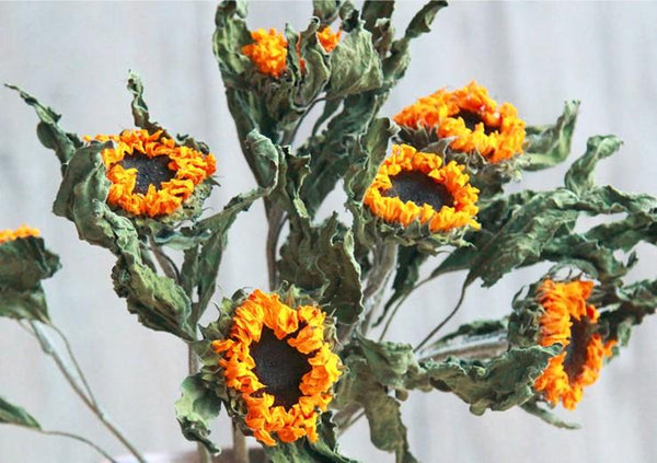A Bunch Dried Yellow Sunflowers, Natural Dried Flower Arrangements, Dried Floral, Bulk Flowers - Art Painting Canvas
