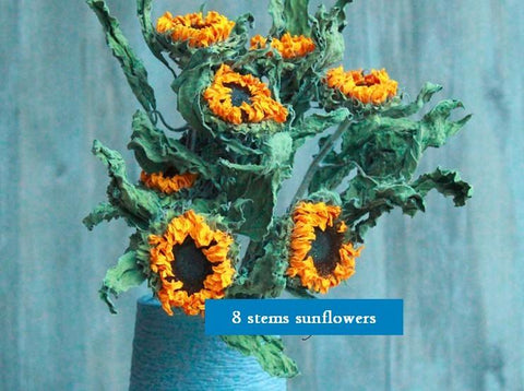 A Bunch Dried Yellow Sunflowers, Natural Dried Flower Arrangements, Dried Floral, Bulk Flowers