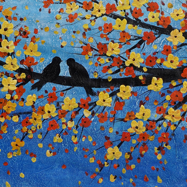 Love Birds Painting, Abstract Painting, Wall Art, Large Art, Canvas Painting, Abstract Art, Canvas Art, Oil Painting, Painting, Wedding Gift