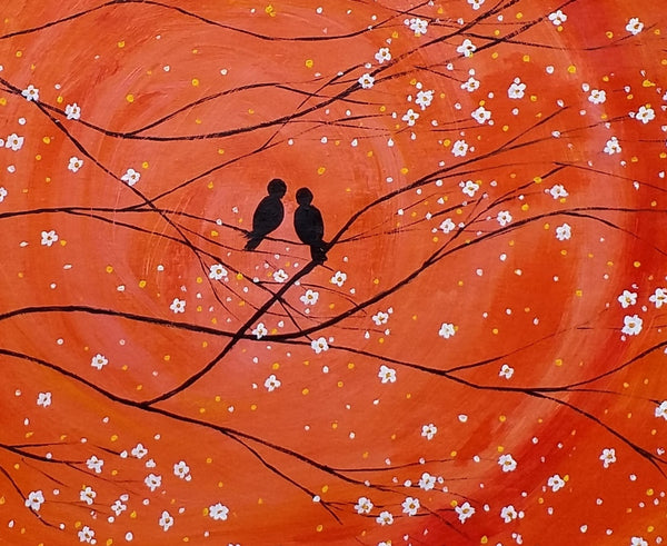Wedding Gift Original Painting Love Birds Painting Abstract Art Oil Painting Canvas Painting Bedroom Wall Art Canvas Wall Art Modern Art