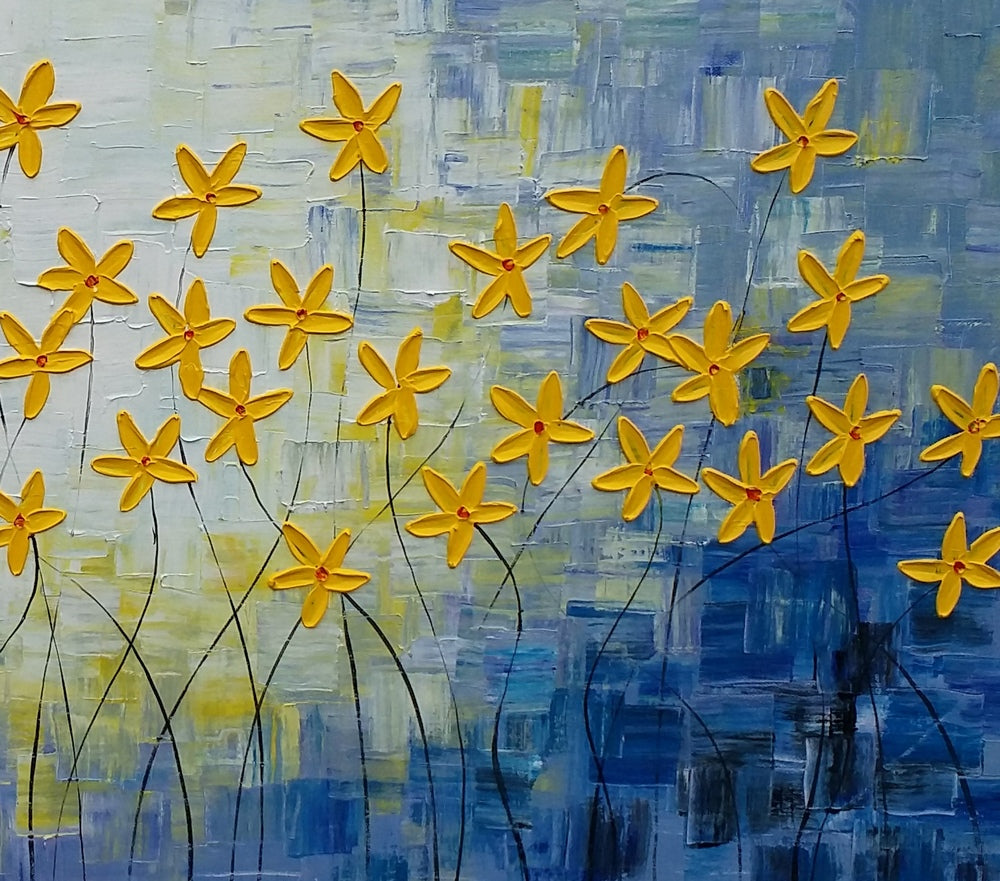 Acrylic painting flower painting original painting for Mural on canvas