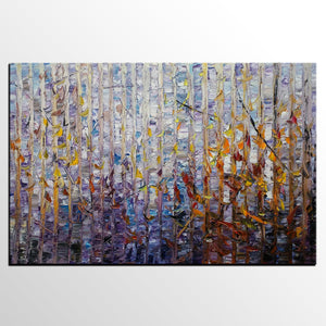 Abstract Painting, Birch Tree Art, Original Painting, Oil Painting, Canvas Painting, Wall Art, Abstract Art, Landscape Painting, Large Art