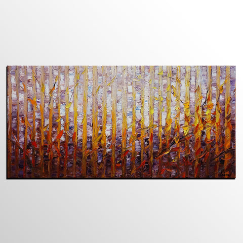 Canvas Art, Abstract Art, Large Painting, Birch Tree Painting, Oil Painting, Large Wall Art, Canvas Painting, Abstract Painting, Large Art