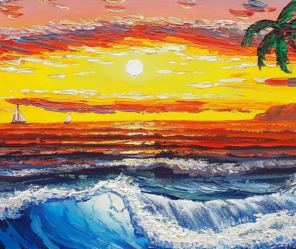 Hawaii Seashore Painting, Sunset Painting, Oil Painting, Canvas Painting, Original Painting, Living Room Wall Art, Large Art Canvas Wall Art