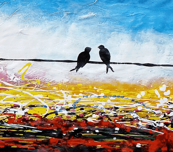 Love Birds Painting, Canvas Art, Abstract Art, Oil Painting, Wall Art, Abstract Painting, Large Art, Canvas Painting, Original Painting
