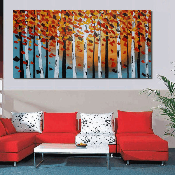 Birch Tree Painting, Canvas Art, Abstract Art, Large Painting, Oil Painting, Large Wall Art, Canvas Painting, Abstract Painting, Large Art - Art Painting Canvas