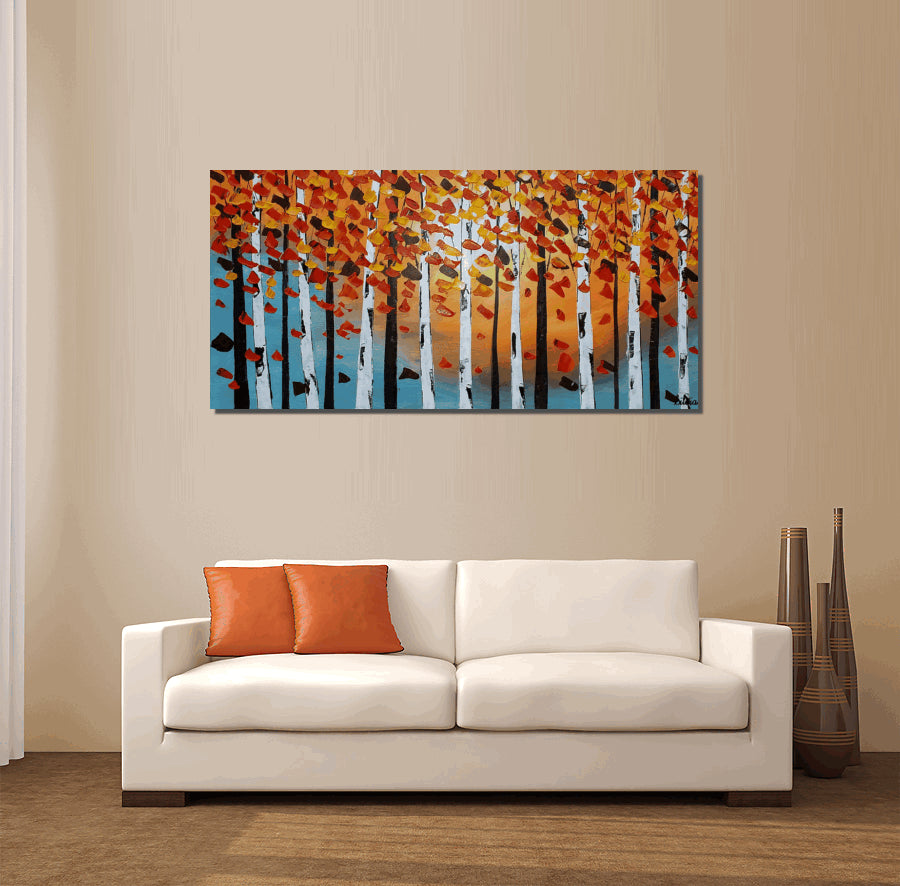 Birch Tree Painting, Canvas Art, Abstract Art, Large Painting, Oil Painting, Large Wall Art, Canvas Painting, Abstract Painting, Large Art