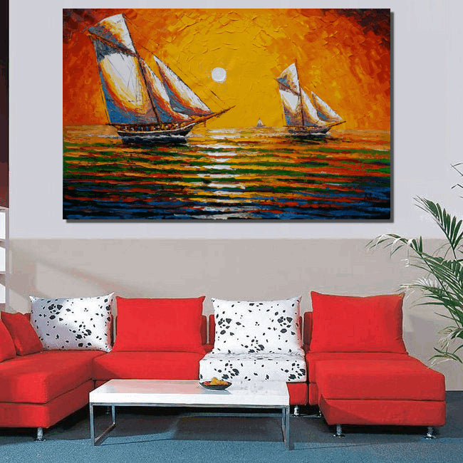Oil Painting, Canvas Painting, Sail Boat Painting, Original Painting, Abstract Painting, Abstract Wall Art, Wall Art, Seascape Painting