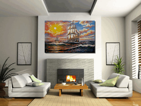 Large Art, Seascape Painting, Wall Art, Abstract Art, Oil Painting, Sail Boat Painting, Painting, Abstract Painting, Canvas Art, Wall Art