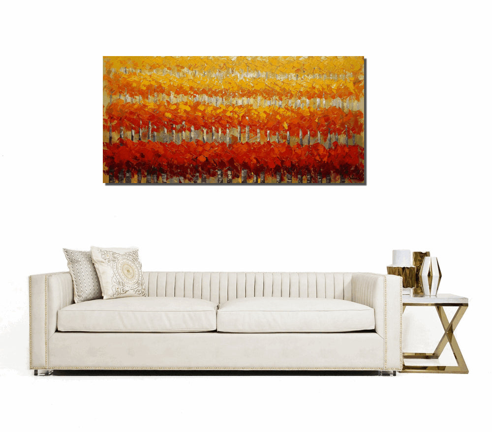 Original Painting, Wall Art, Oil Painting, Landscape Painting, Large Art, Canvas Art, Abstract Art, Living Room Art, Birch Tree Painting