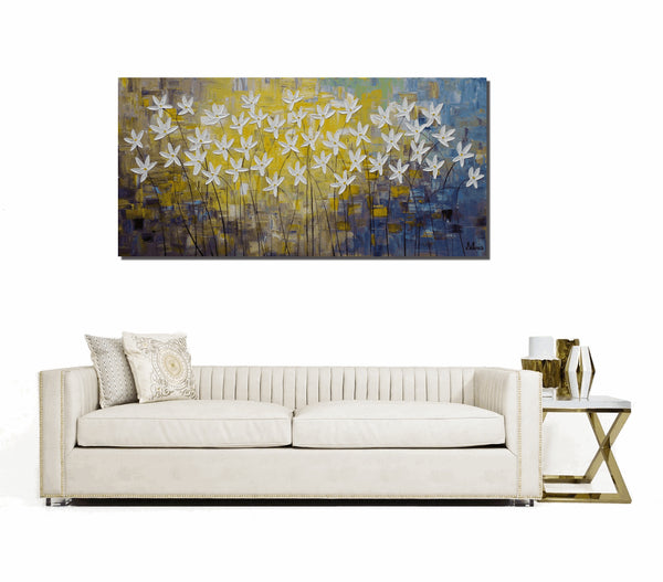 Flower Painting Original Painting Large Painting Canvas Painting Abstract Art Large Wall Art Modern Art Living Room Wall Decor Framed Art