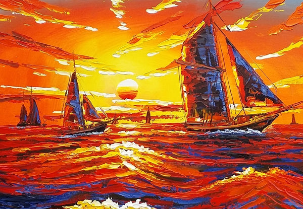 Canvas Oil Painting, Oil Painting, Ship Painting, Abstract Painting, Large Art, Sunrise Painting, Canvas Art, Abstract Art, Large Wall Art