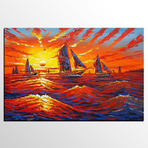 Canvas Oil Painting, Oil Painting, Ship Painting, Abstract Painting, Large Art, Sunrise Painting, Canvas Art, Abstract Art, Large Wall Art - Art Painting Canvas