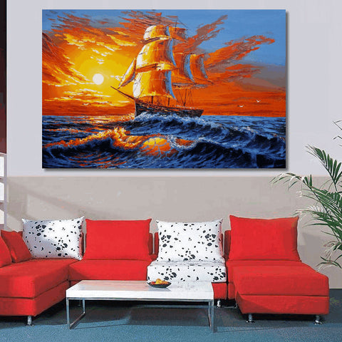Canvas Art, Seascape Painting, Wall Art, Abstract Art, Oil Painting, Sail Boat Painting, Painting, Abstract Painting, Large Art, Wall Art - Art Painting Canvas