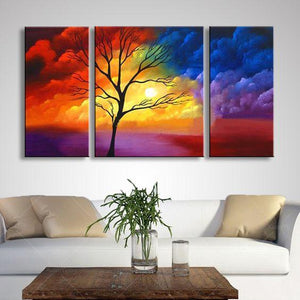Dining Room Canvas Painting, Tree Painting, 3 Piece Painting, Tree of Life Painting, Modern Paintings