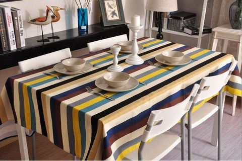 Sailcloth Blue, Yellow, White, Brown Stripe Tablecloth, Table Cloth, Wedding Dining Kitchen Table Cover