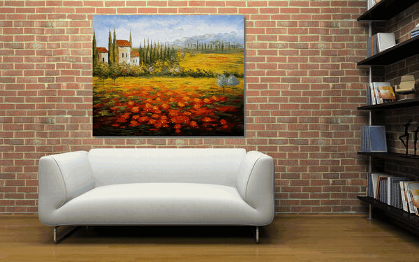 Large Art, Red Poppy Field, Abstract Painting, Abstract Canvas Art, Oil Painting, Abstract Art, Contemporary Art, Wall Decor, Original Oil Painting, Huge Art