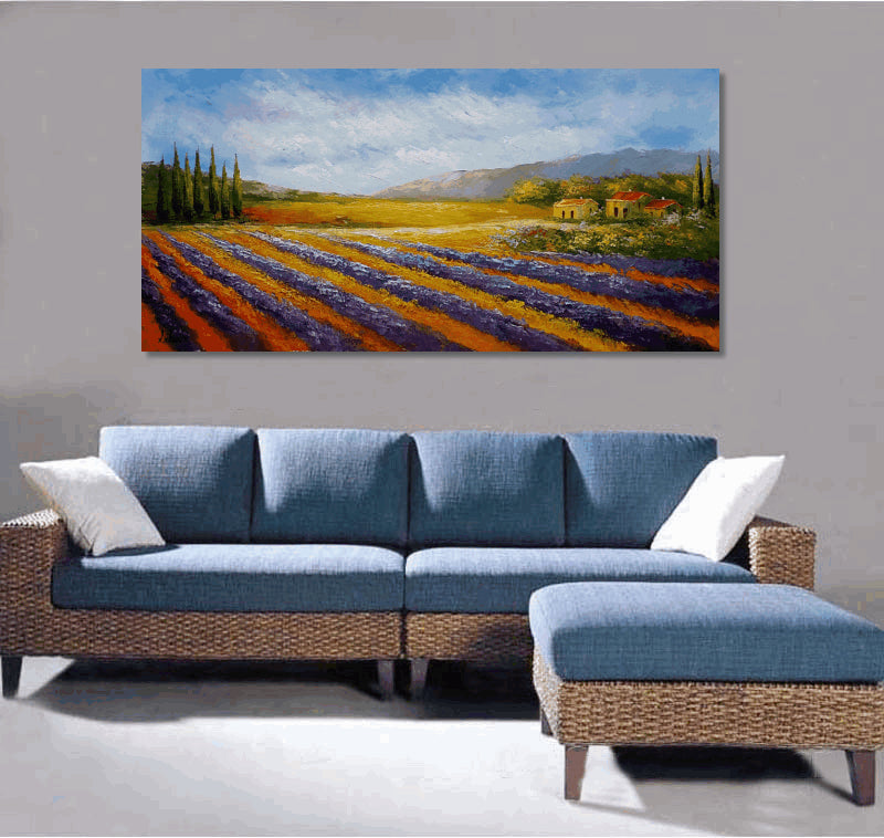 Oil Painting Landscape, Lavender Field, Canvas Painting, Original Oil Painting, Modern Art, Large Art, Rustic Living Room Decor, Large Landscape Painting