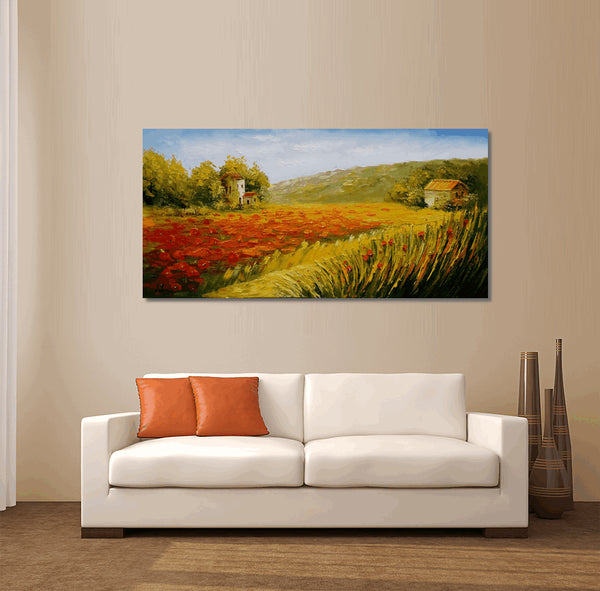 Red Poppy Field, Abstract Art, Oil Painting, Abstract Canvas Painting, Original Painting, Abstract Landscape Painting, Large Oil Painting