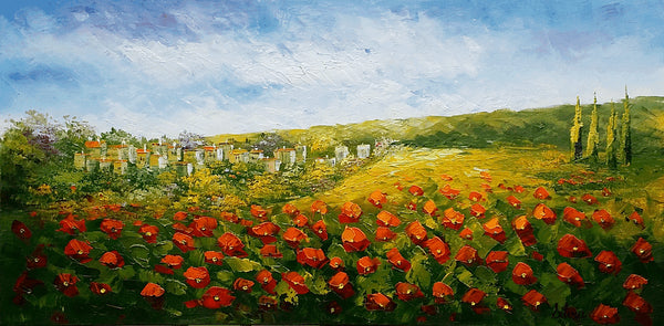 Landscape Painting, Oil Painting Landscape, Kitchen Decor, Original Painting, Red Poppy Field, Palette Knife Oil Painting, Large Painting