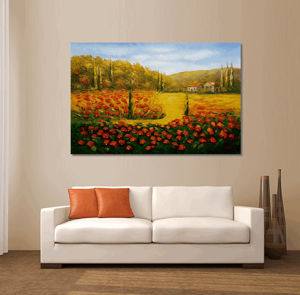 Landscape Painting, Red Poppy Field, Oil Painting, Landscape Oil Painting, Original Artwork, Large Canvas Wall Art, Contemporary Art, Oil Painting Abstract