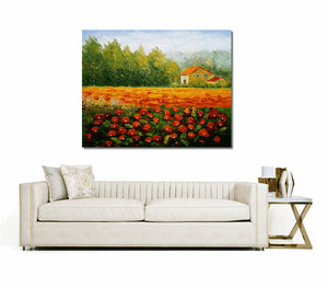 Red Poppy Field, Abstract Painting, Oil Painting, Modern Art, Canvas Wall Art, Abstract Canvas Art, Original Artwork, Large Art, Abstract Landscape Painting