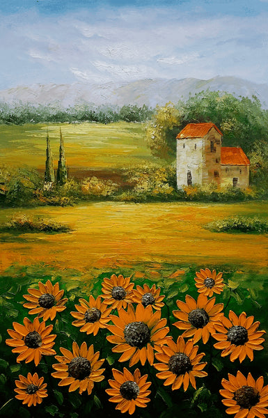 Abstract Painting, Oil Painting, Landscape Painting, Sunflower Field, Palette Knife Painting, Modern Art, Original Landscape Oil Painting, Living Room Wall Art - Art Painting Canvas