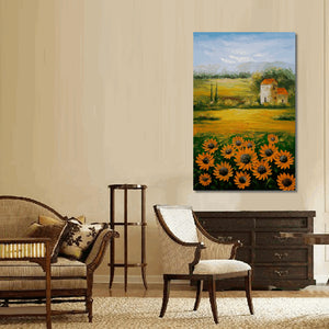 Abstract Painting, Oil Painting, Landscape Painting, Sunflower Field, Palette Knife Painting, Modern Art, Original Landscape Oil Painting, Living Room Wall Art