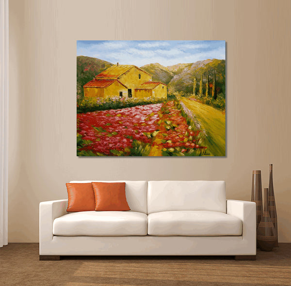Original Oil Painting, Abstract Art, Contemporary Art, Abstract Canvas Art, Landscape Painting, Wall Decor, Art Decor, Large Art, Red Poppy Field