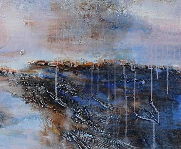 Rustic Living Room Decor Abstract Landscape Painting Art Loading