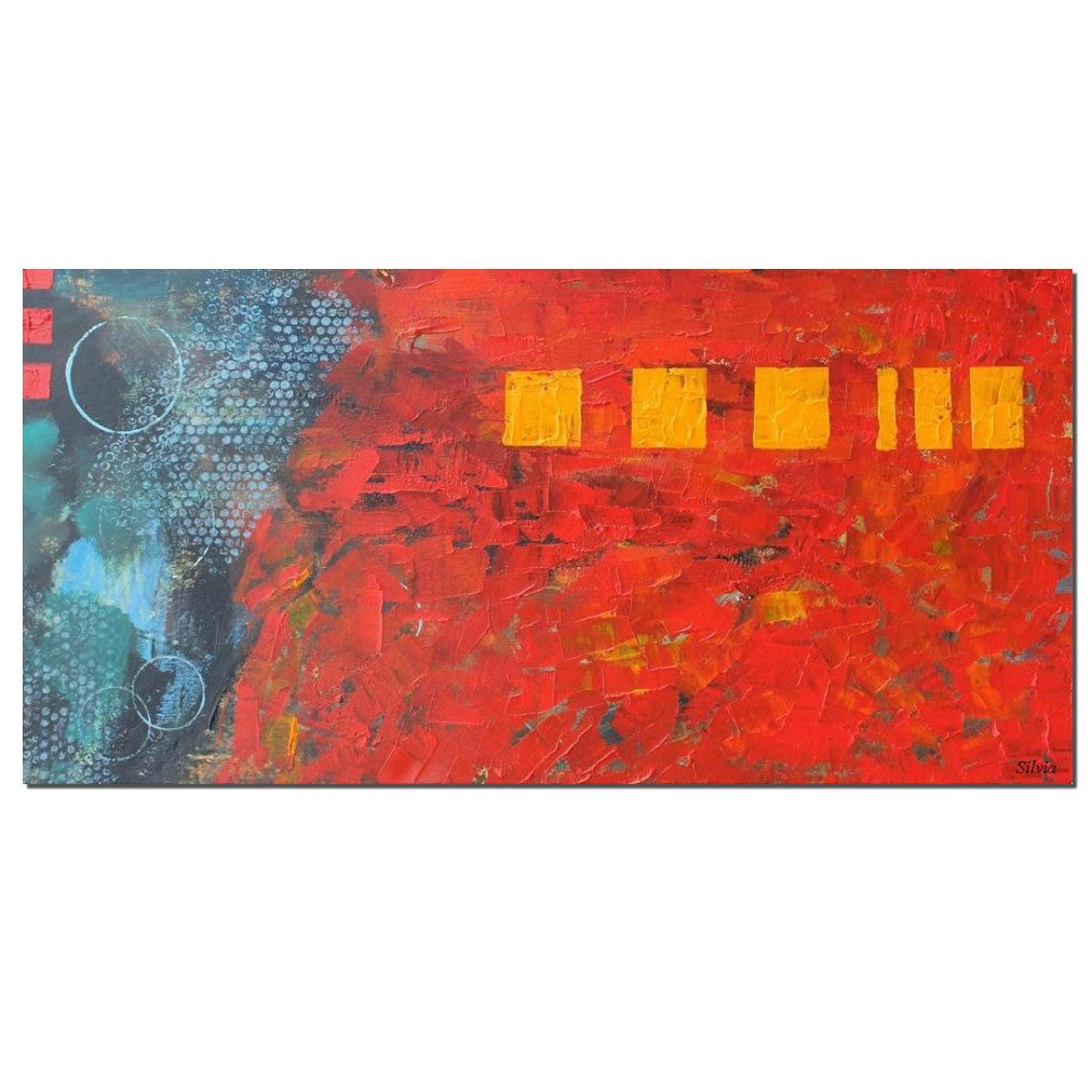 Modern Wal Art, Abstract Painting, Original Artwork, Impasto Textured Fine Art, Ready to Hang, Vivid Red Color, Oil Painting, Red Color Art