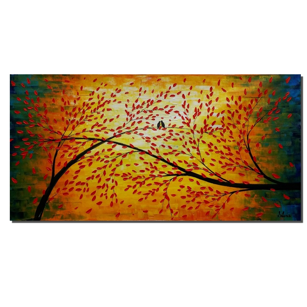Oil Painting, Love Birds Art, Living Room Wall Decoration, Abstract Painting, Canvas Painting, Palette Knife, Canvas Wall Art, Original Art
