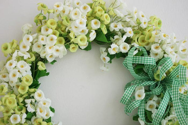 White Spring Flower Wreath, Artificial Silk Flower Wreath for Home Decoration