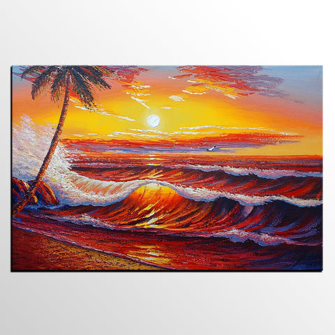 Large Art, Sunrise Seascape, Palm Tree, Oil Painting, Modern Painting, Oil Painting Landscape, Canvas Art, Palette Knife Oil Painting