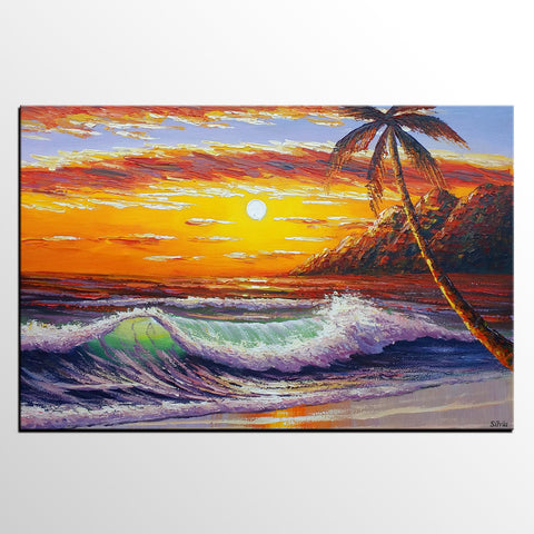 Abstract Painting, Palette Knife Painting, Seascape Art, Palm Tree Sunrise, Original Abstract Art, Modern Painting, Large Wall Decor, Red Color Art