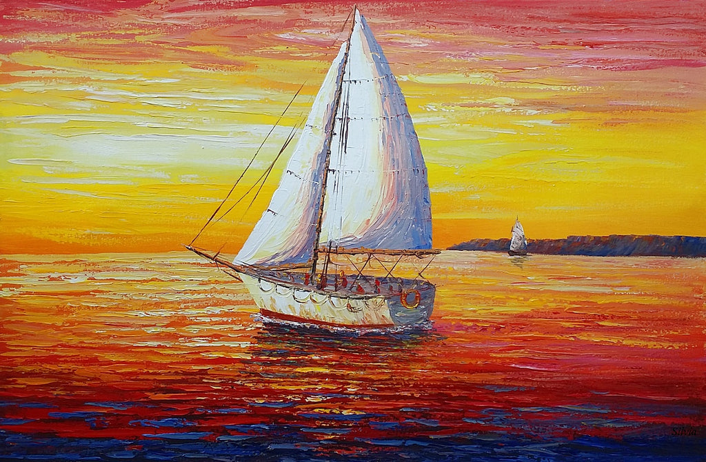 Seascape, Sail Boats at Sea, Oil Painting, Palette Knife Painting ...
