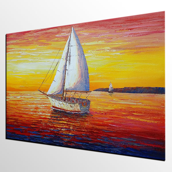 Seascape, Sail Boats at Sea, Oil Painting, Palette Knife Painting, Original Abstract Art, Modern Painting, Large Wall Decor, Sunrise Painting