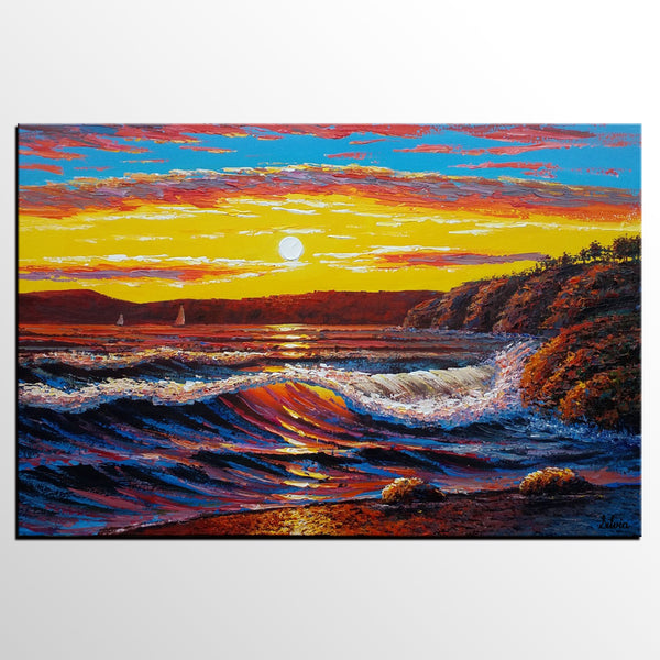 Large Oil Painting, Seascape Art, Sunrise Art, Large Art, Canvas Painting, Original Painting, Wall Art, Abstract Painting