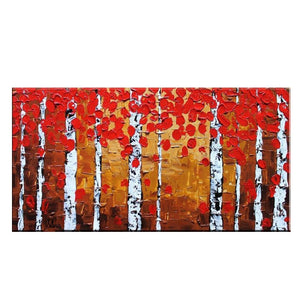 Abstract Art, Oil Painting, Abstract Canvas Painting, Original Painting, Abstract Landscape Painting, Large Oil Painting, Birch Tree Painting, Autumn Art